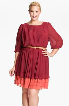Jessica Simpson Pleated Chiffon Blouson Dress (Plus) | Nordstrom