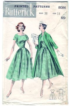FREE SHIPPING Vintage 1957 Butterick 8086 Sewing Pattern Misses' Soft-Look Dress and Coat Size 18 Bust 38: