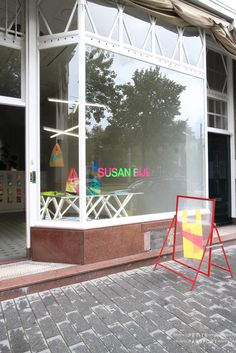 Susan Bijl by Petite Passport Shop Signage, Electric Co, Sandwich Board, Cafe Shop, Sense Of Place, Shop Interiors, Wall Patterns, Store Fronts, Rotterdam