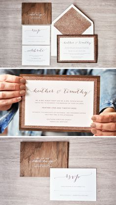 Rustic meets glam with this wedding invitation suite from Engaging papers. A real walnut wood base with a rose gold glitter paper layer on top! https://engagingpapers.com/wedding-invitations?product_id=262