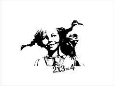 Pippi and math Plotter Silhouette Portrait, Silhouette Cameo, Tattoo Stencils, Stencil Art, Stenciling, Banksy Art, Bansky, Pippi Longstocking, Human Art