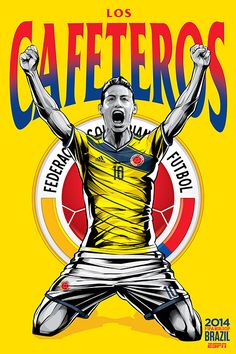 Colombia national football team poster by brazilian designer Cristiano Siqueira. FIFA World Cup 2014 Brazil. World Cup Teams, Soccer World, Fifa World Cup, Brazil World Cup, World Cup 2014, Lionel Messi, Colombia Soccer, Brazil Team, Football Art