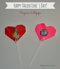 How to make origami hearts to cover a lollipop/sucker for Valentine's Day