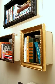 Add some small pieces of wood to your old frames and you have mini bookshelves.
