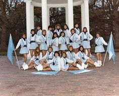 Me, front left (seated next to my flag), my senior year with The Marching Carolines
