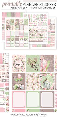 Erin Condren Printable Easter Planner Stickers Kit #plannerstickers #printable #downloadable #spring