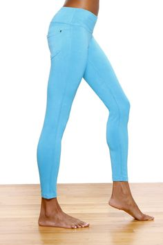 """Green Apple 25"""" Jean Style Fitted Legging w/back pocket Bluebird  Jenice G.  Sacramento, Ca    I love these pants! I've worn them both on and off the mat. The color is vibrant, they're breathable, and constructed really well. 5 Stars~Find this and other Yoga Clothing at http://downdogboutique.com/"""