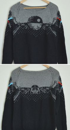 Star Wars Knitting Patterns - Knit Knack - Star Wars Knitting Patterns Knitting Pattern for Star Wars Sweater - This pullover sweater pattern by knatalieknits features the Death Star on the front, Darth Vader on the back, and light sabers on the sleeves Knitting Charts, Knitting Stitches, Free Knitting, Loom Knitting, Knitting Machine, Vintage Knitting, Pull Star Wars, Style Masculin, Fair Isle Knitting
