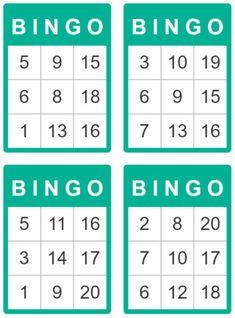 bingo cards for kids 1 to 20 Bingo Card Template, Free Printable Bingo Cards, Bingo Games For Kids, Bingo Card Generator, Math Bingo, Preschool Learning Activities, Vocabulary Activities, Loteria Cards, Bingo Board