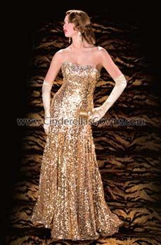Gold sequin gown.