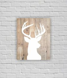 Deer Silhouette, Deer Head Stencil, Wooden boards, Printable wall art, 8х10, Digital download