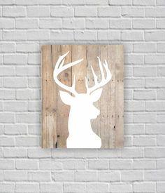 Deer Silhouette Deer Head Stencil Wooden boards by myfavoritedecor