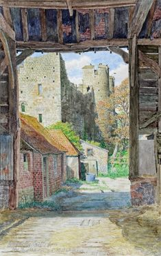 'Amberley Castle from the big Barn.' Stanley Roy Badmin was an English painter and etcher particularly noted for his book illustrations and landscapes. Landscape Illustration, Landscape Art, Landscape Paintings, Illustration Art, Book Illustrations, Landscapes, English Artists, British Artists, Contemporary Artwork
