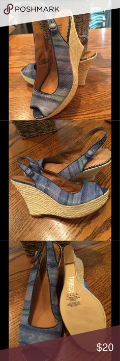 TriBeCa Wedge Espadrilles Sandals Cute TriBeCa-Kenneth Cole leather upper  wedge sandals! Light blue with shades of light green. Like new condition. One shoe has 2 small places that peeled when I removed the price tag. You can see it in  one picture. Is not visible at all when shoes are on. tribecca Shoes Wedges