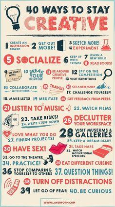 40 maneras de mantenerte creativo #infografia #infographic