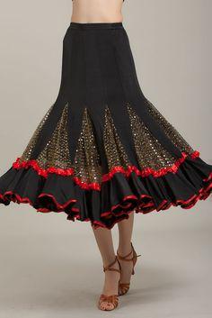 SGS23BR New Women Ballroom Latin Smooth Tango Flamenco Country Dance Dress Skirt #StarDanceUSA #DanceSkirt
