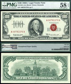 1966 A $100 United States Note Legal Tender FR-1551 PMG Graded AU58EPQ Red Seal BUEPL