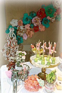 Glam birthday party dessert table! See more party ideas at CatchMyParty.com!