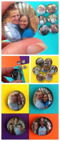 DIY Photo Magnets - Use Dollar Store Gems, Picture, and Mod Podge to Make Personalized Magnets - A Perfect Gift for Friends and Family - Destination Decoration