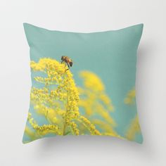 Happy Be(e) Throw Pillow by Snaps Between Naps (by Belle13) - $20.00