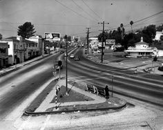 Sunset Boulevard facing west from Palm Avenue (ca. July 1940)