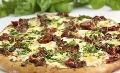 Quite Amazing! A fabulous burst of flavor in every bite! Pesto Pizza w/ Italian Sausage, Slow-Roasted Tomatoes & Spring Herb Gremolata Italian Sausage Pizza, Sausage Pizza Recipe, Meat Pizza Recipes, Sausage Recipes, Pesto Pizza, Flatbread Pizza, Pizza Day, Pizza Pizza, Slow Roasted Tomatoes