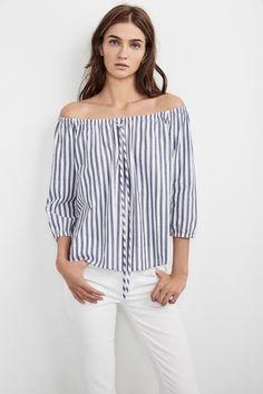 Jene Off the Shoulder Woven Cotton Stripe Top, Velvet by Graham and Spencer. https://velvet-tees.com/women/spring-2017-collection/jene-off-the-shoulder-woven-cotton-stripe-top.html