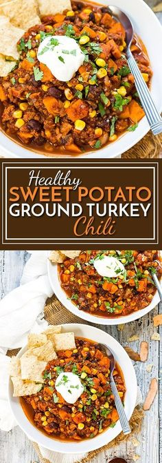 Healthy Sweet Potato Ground Turkey Chili   A healthy and quick gluten free dinner recipe that is full of ground turkey, black beans, corn, sweet potatoes and lots of chili flavor!