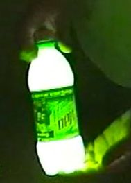 1/4 bottle mountain dew  2 pinches baking powder  3 cap fulls of peroxide  ** SHAKE it up & watch it GLOW!