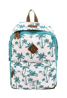 Daypack F|23 Palm weiss/türkis #F23 #Friedrich23 #Star #Palm #Check #Holiday