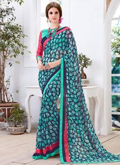Buy saree online. Customization and free shipping worldwide. Modest georgette casual saree for casual and party.