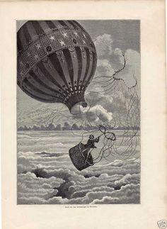 Old print Luchtballon ballon Hot air balloon Mountain