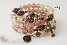 Rosary Bracelet Wrap,Brown-Beige Crackle Beads 8mm,Religious Jewelry,Catholic Jewelry,Bridal,Mother's Day,Confirmation,Wedding,#485 by OURLADYBeads on Etsy