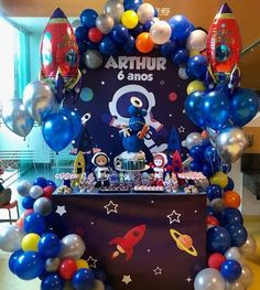 Get ready for galaxy party balloon decoration ideas that would leave your speechless. Filled with colors and a theme of galaxy balloon joyrides, you do not want to miss these ideas for your next galaxy-themed birthday party decorations. Happy Birthday B, Birthday Themes For Boys, Boy Birthday Parties, Balloon Decorations Party, Birthday Party Decorations, Space Party, Galaxy Balloons, Craft Ideas, Toddler Boy Birthday