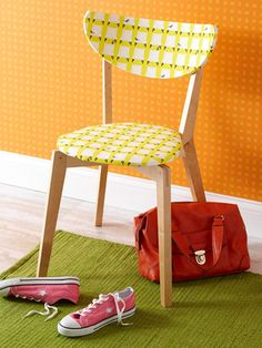 Fabric covered chair- I LOVE this!! I do not like all wood chairs, but those are the cheapest chairs I find at sales. PERFECT way to freshen them up!