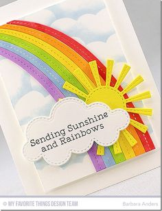 card sun rainbow clouds cloud, MFT end of the rainbow Die-namics, MDT sunny skies Die-namics MFT clouds stencil MFT Stamps: Rainbow Greetings (MFT) Ink: Black Licorice dye ink, Blue Breeze dye ink (MFT) Teacher Thank You Cards, Thank You Cards From Kids, Kids Cards, Weather Cards, St Patricks Day Crafts For Kids, Rainbow Card, Black Licorice, Ink Blue, Atc Cards