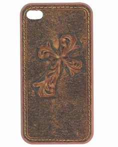 Brown Embossed Diagonal Cross iPhone 4 Case gifts under 20 dollars - Stocking Stuffer -  #stockingstuffer #giftideas #christmasgiftideas Christmas gift idea under $20