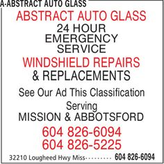 24 Hour Emergency Service Windshield Repair, Auto Glass, Ads