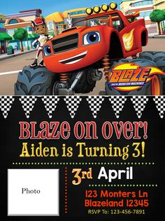 Blaze and the Monster Machines Birthday by SGInvitations on Etsy