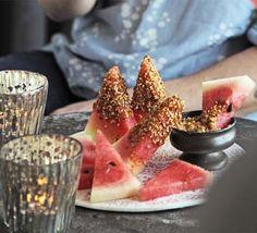 Watermelon with dukkah dip - watermelon wedges / hazelnuts / sesame seeds / coriander seeds / cumin seeds / paprika / cayenne