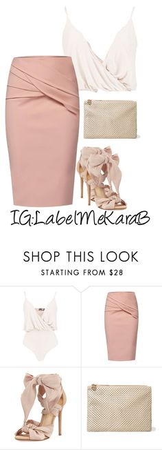 """KB072"" by labelmekarab on Polyvore featuring Boohoo, WtR, Alexandre Birman, Clare V., blush, women, staycation and LabelMeKaraB"