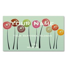Abstract Watercolor Roses, Stylish Florist Gardener Nature Green Pack Of Standard Business Cards