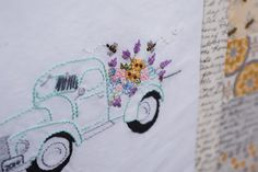 Visit the post for more. Vintage Pickup Trucks, Mug Rugs, Embroidery Patterns, Bee, Adventure, Quilts, Sewing, Stitches, Fabric