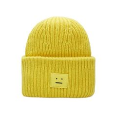 Acne Studios Pansy Wool Beanie (€110) ❤ liked on Polyvore featuring accessories, hats, wool beanie, beanie hat, beanie cap hat, wool hat and yellow beanie
