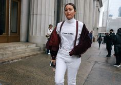 #StreetStyle   #NYC  Rachael Wang in a Dion Lee Jacket and Willy Chavarria t-shirt