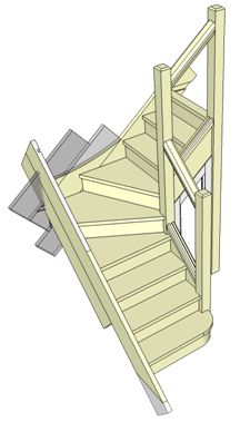 Stairs - Example of Winder Stairs with a simple handrail supported by three newel posts.