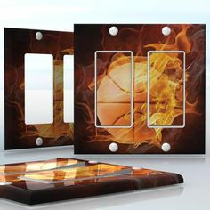 DIY Do It Yourself Home Decor - Easy to apply wall plate wraps | Fireball  Burning basketball  wallplate skin sticker for 2 Gang Decora LightSwitch | On SALE now only $4.95