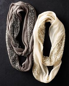 Elizabeth Gillett Sequined Infinity Loop Scarf. Cute sparkles for the holiday seasons