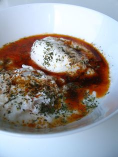 poached eggs with yogurt and paprika and butter and mint. this shouldn't sound amazing but it does.