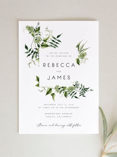 Faire-part mariage - invitation mariage - - Greenery Wedding Invitation Template Fern Leaves Printable Green Wedding Invitations, Printable Wedding Invitations, Diy Invitations, Wedding Invitation Design, Wedding Stationary, Invitation Fonts, Weding Invitation Ideas, Invitations Online, Invitation Card Design
